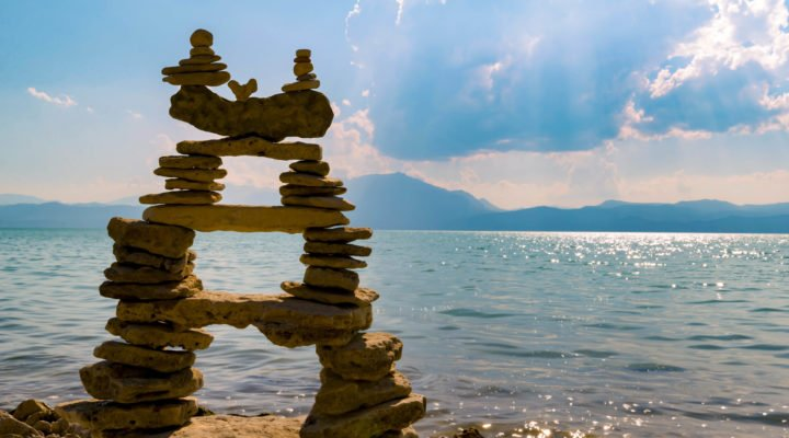 piled rocks in the shape of a person