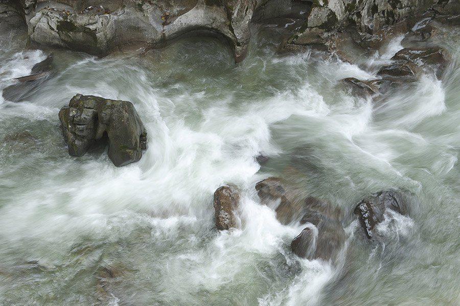 rocks in torrential river water, as metaphor for negative emotions